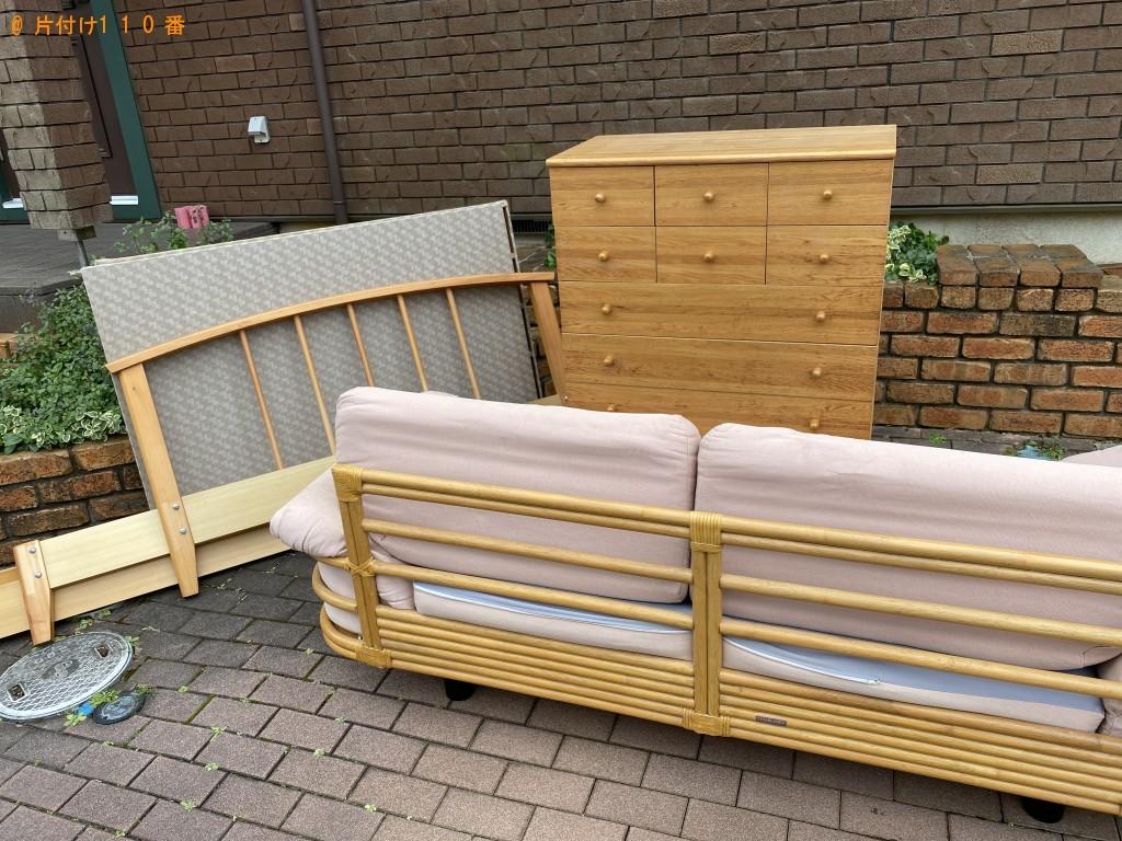 【佐倉市】整理タンス、ソファー、ダブルベッドの回収・処分